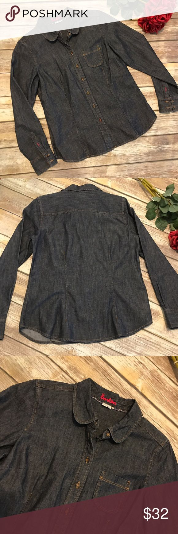"""🌹Boden Denim Shirt EUC. Wear it with everything (even your jeans) for more than a nod to the denim on denim trend. Perfect item for a capsule wardrobe! 100% cotton. Armpit to armpit approximately 19"""" laying flat. Shoulder to hem approximately 25"""". Fits more like an 8 IMO. 💰Reasonable offers welcome. All photos are taken in natural light. Photos may not be used without permission. ⬇️8/3 Boden Tops"""