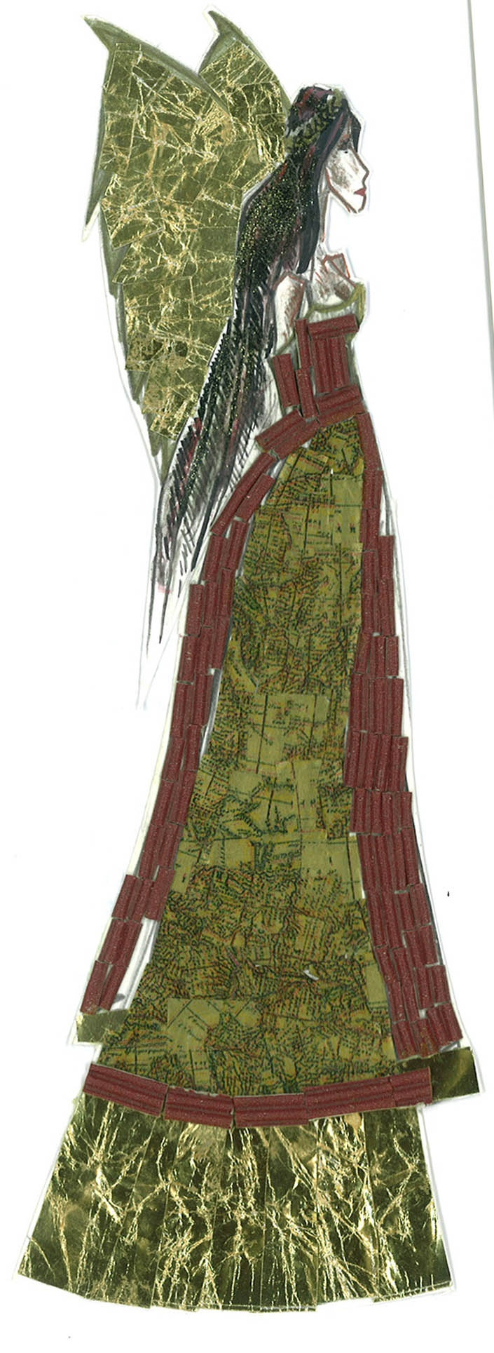 Collage with wrapping paper, corrugated cardboard and nail polish - Trish Chamberlain
