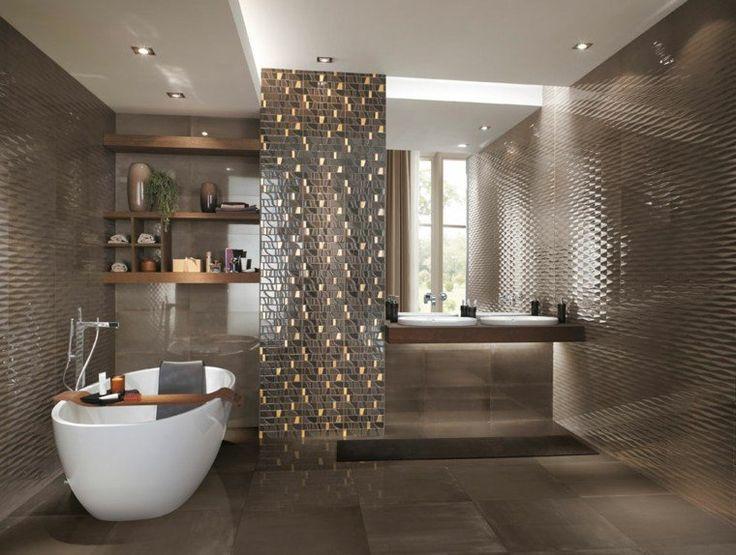 Les 25 meilleures id es concernant salles de bains gris for Salle de bain avec carrelage gris fonce