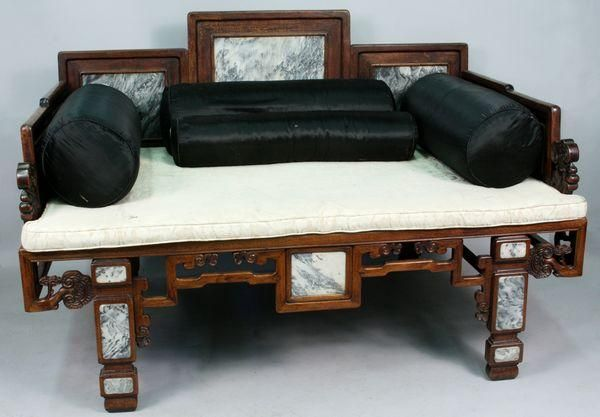 18th-early 19th Century Chinese teakwood and jade or marble opium bed