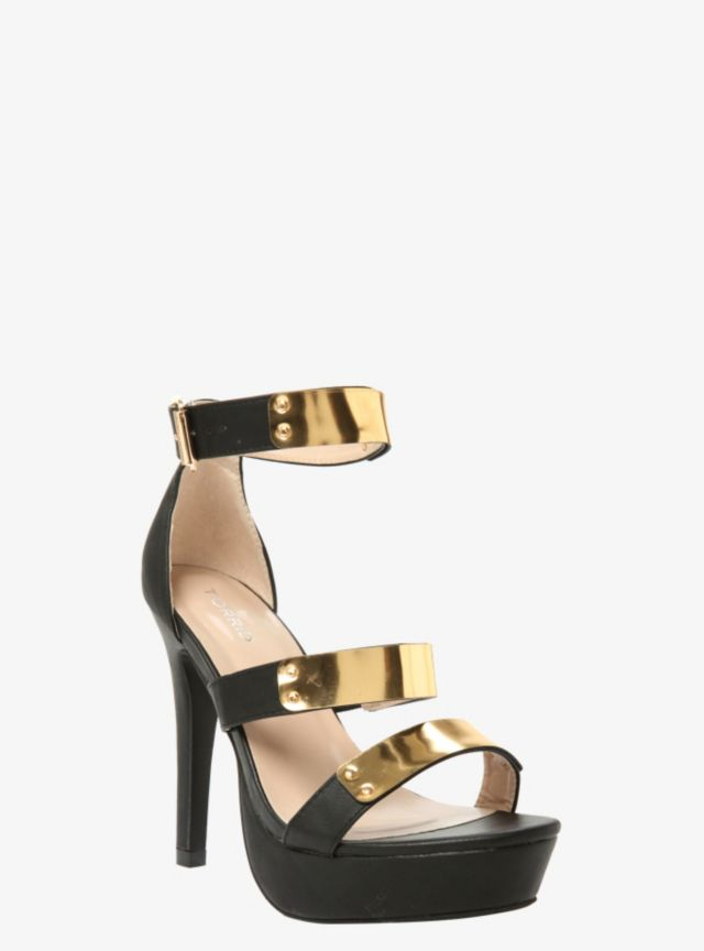 These attention-grabbing sky high platform heels are made from super-luxe faux leather and have three gold tone straps and a sexy open toe. They're sleek, chic and absolutely stunning.