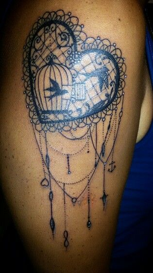 #lacetattoo #laceheart #heart #anchor #infinity #bird #cage #tattoo