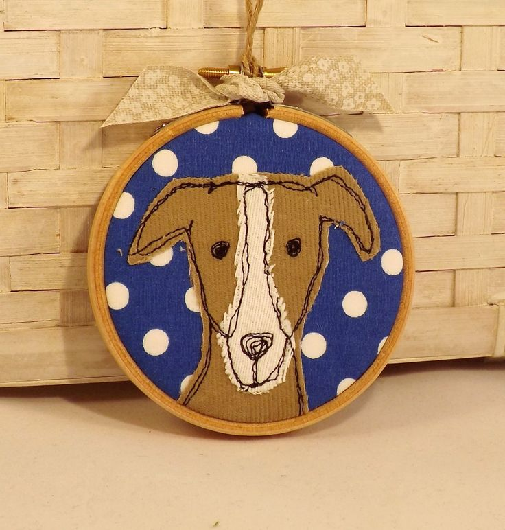 Greyhound, whippet, hoop, hoop art, applique, embroidery, free motion, dog, gift, birthday by TheDogandtheMoon on Etsy