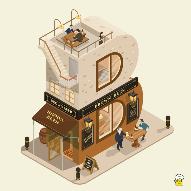 #B #illustrativetype #illustratedtype designed by Kim Ho; the letter B is illustrated as a building. The counters of the B are like windows and the two parts of the letter appear as two stories.