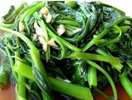 Morning Glory :Stir-fried Chinese watercress and garlic from Pattaya Bay Restaurant in Los Angeles #Food #Watercress #Restaurant forked.com