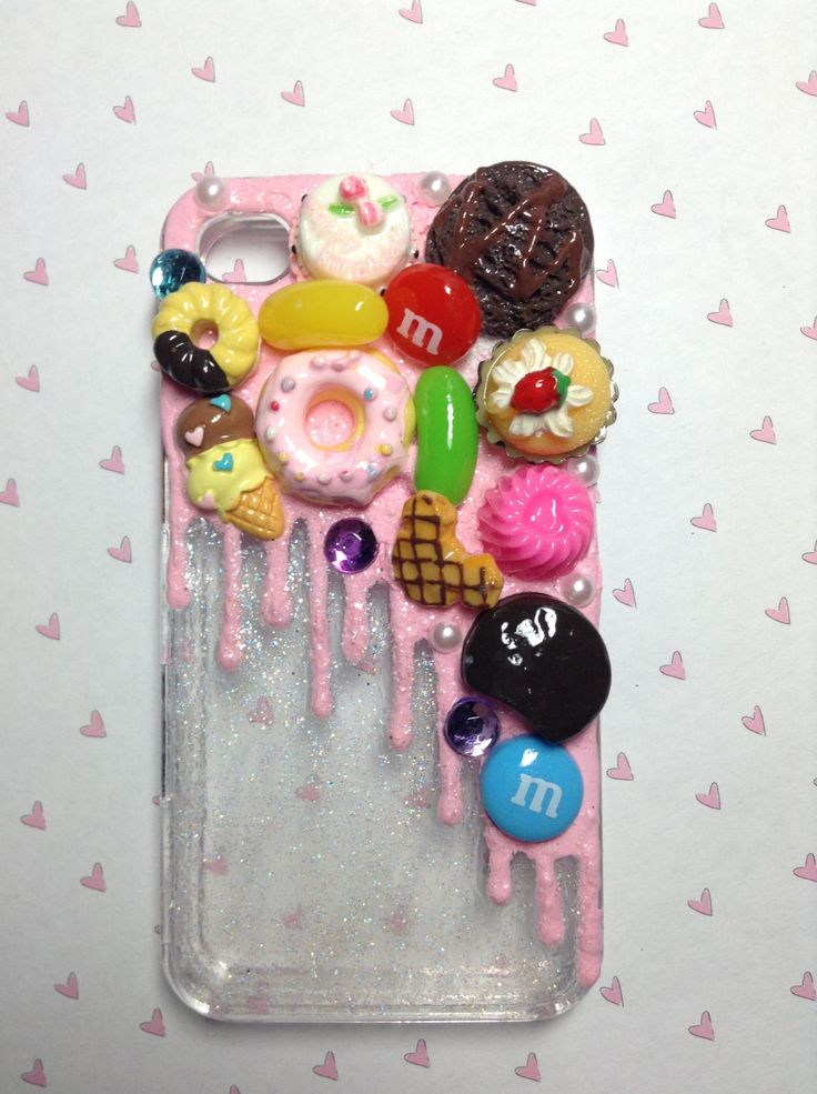 Got to love this melted ice cream affect! Flawed decoden iPhone 4 case. $12.00, via Etsy.