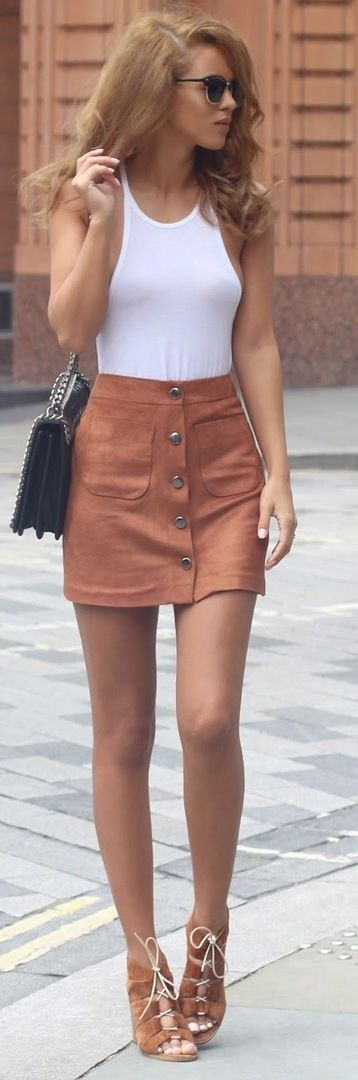 Suede button up skirt & lace up heels.