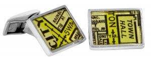 Town Hall vintage street directory cufflinks in sterling silver - $150