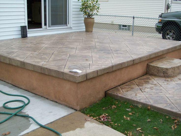 121 best patio images on pinterest | backyard ideas, landscaping ... - Raised Concrete Patio Ideas