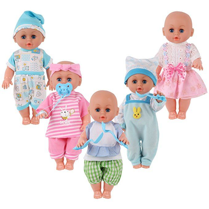 Amazon Com Set Of 5 For 11 12 13 Inch Newborn Reborn Alive Doll Baby Doll Clothes Costumes Gown Outfits Wi Baby Doll Clothes Doll Clothes Baby Dolls
