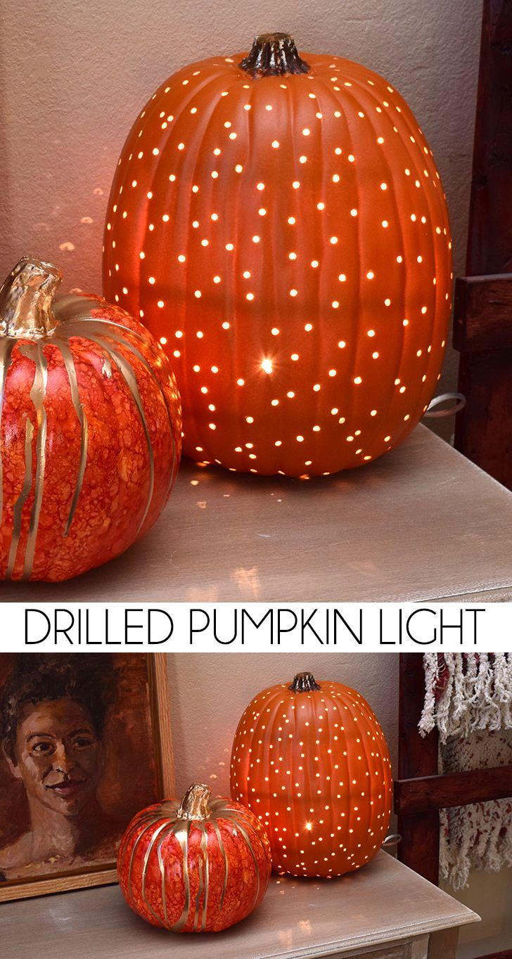 Try this gorgeous twist on traditional #fall #decor - Drilled Pumpkin Light #DIY