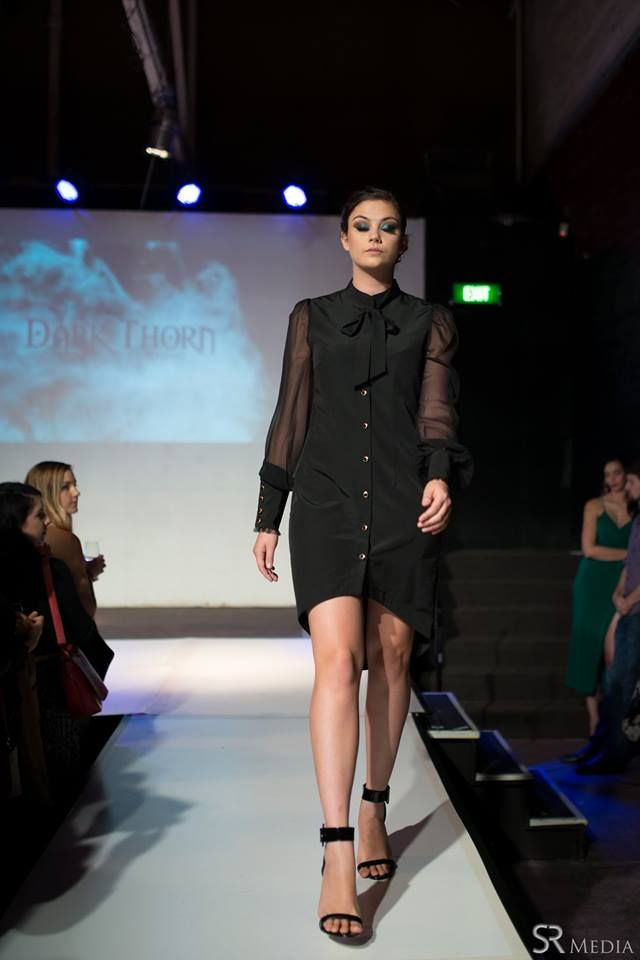 Raw Adelaide Signature 1.04.2016  Hayley on the runway in the Lillie blouse dress.  Photography: SR Media Hair: Caitlan Prater Makeup: Tiarna Lehmann  LILLIE: http://www.darkthornclothing.com/collections/rebirth/products/lillie-dress