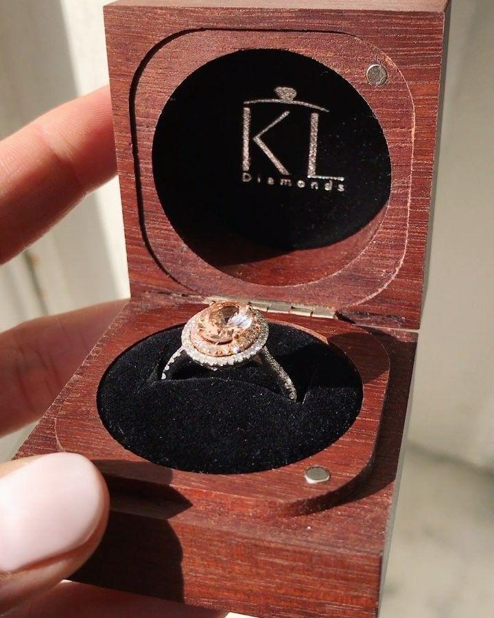 Morganite and diamond halo engagement ring // KL Diamonds