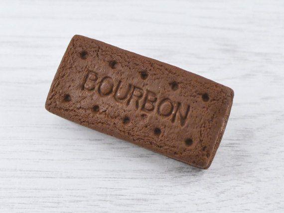 Chocolate cookie brooch Bourbon biscuit by BeadyBellaCinderella