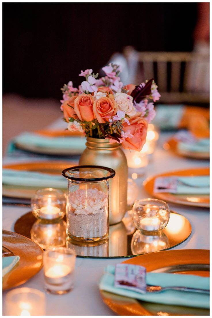 wedding centerpieces, sand, wedding, mint and coral, mint and peach, beach wedding, mason jars, cancun, playa del carmen, beholden, bhldn
