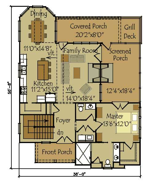 Small Cottage Floor Plan. I like the kitchen, dining area, and foyer - good start.