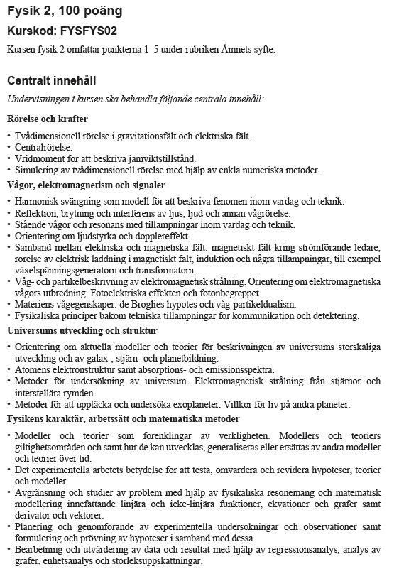 centralt innehåll från kursplanen i fysik 2 www.skolverket.se