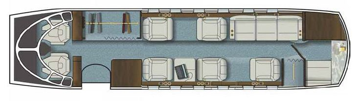 Hawker 800XP N816LX seating layout.  Available for private jet charter.
