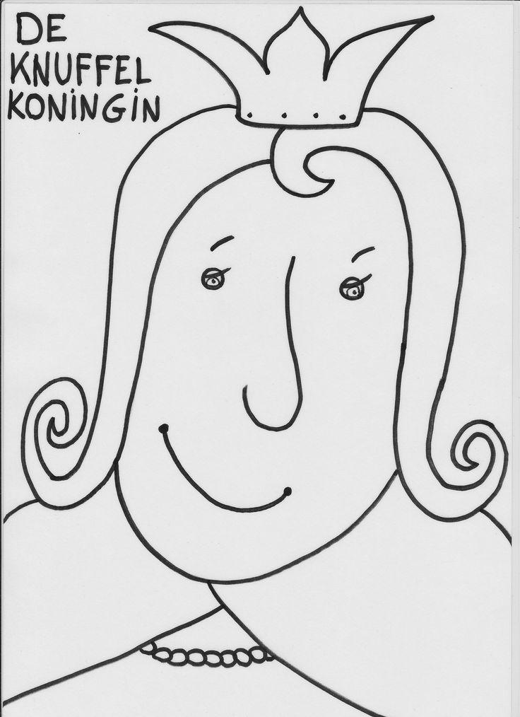 zwart wit prent: knuffelkoningin (de knuffelkoningin)