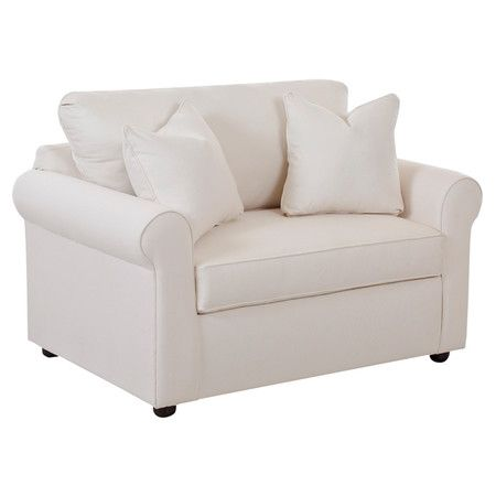 Perfect for hosting friends from out of town, this cotton-upholstered sleeper chair converts into a convenient bed for overnight guests.   ...