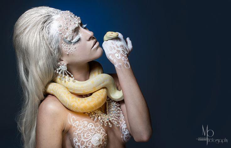 'The Albino Python'  #moanabarrosophotography #AngieY #Tiffany #model #snake #albino #photography #beauty #makeup #https://www.facebook.com/Moanabphotography jewels by Nikki Stevens Designs #nikkistevensdesigns