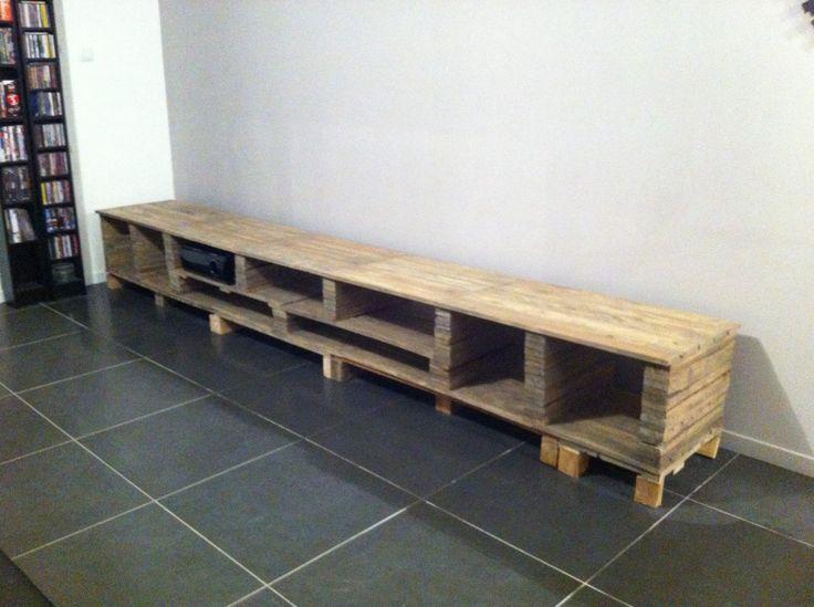 1000 id es sur le th me meubles t l palettes sur - Meuble tv fait maison ...
