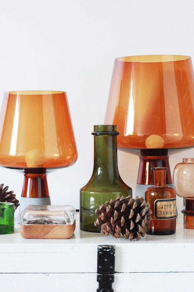 Iittala Leimu lamp, Vitriini box clear/oak, Kivi votive. Via Kettukarkki.