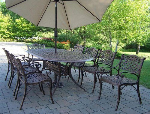 Oakland Living 2105-2109-4005-BG-4101-11-AB Mississippi Outdoor by Oakland Living. $2147.72. Mississippi 9 Piece Dining Set with 2 Piece Umbrella  The Oakland Mississippi Collection combines southern style and modern designs giving you a rich addition to any outdoor setting. The traditional lattice pattern and scroll work is crisp and stylish. Each piece is hand cast and finished for the highest quality possible.   Perfect piece for any outdoor dinner setting  Just the ...