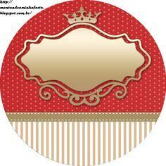 Montando minha festa: Mini kit - Coroa princess vermelho, dourado e bege