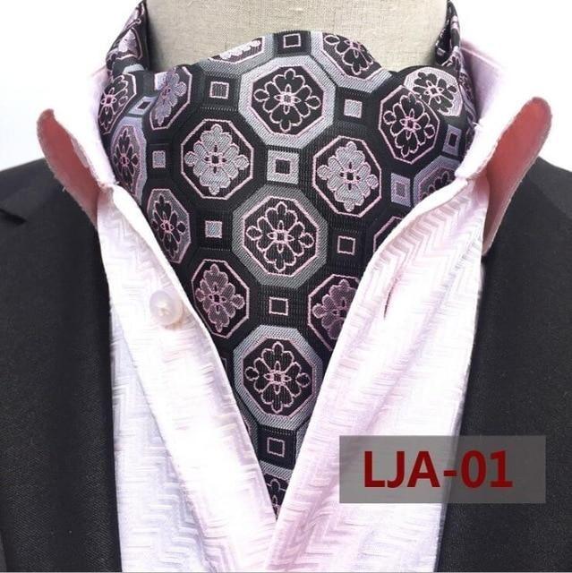 210cc15d6e4a JEMYGINS New Quality Men's Ascot Neck tie Vintage Paisley Floral Jacquard  Silk Necktie Cravat Tie Scrunch Self British style