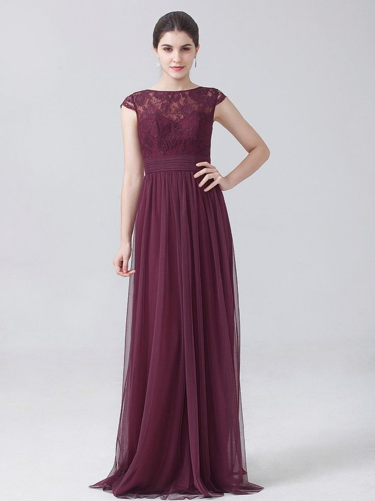 Maroon lace & chiffon bridesmaids dress -  It's May sale time! Up to 30% off bridesmaids dresses from 'For Her And For Him'.