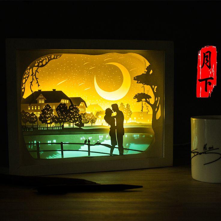 Light paper sculpture 3D lamp remote control lamp lamp DIY hand creative gift lamp bedroom bedside Nightlight