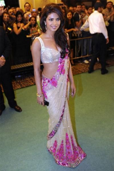 Desi Girl Priyanka Chopra looks Beautiful in desi avataar - bollywoodshaadis.com #saree #indian wedding #fashion #style #bride #bridal party #brides maids #gorgeous #sexy #vibrant #elegant #blouse #choli #jewelry #bangles #lehenga #desi style #shaadi #designer #outfit #inspired #beautiful #must-have's #india #bollywood #south asain