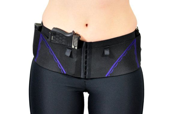 Hip Hugger Classic Gun Holster for Women's Concealed Carry; Black with Purple Accents = I need one of these