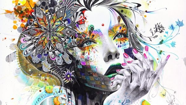 Wallpaper abstraction, painting, girl, paint, flowers, hand, thoughtful, rendering