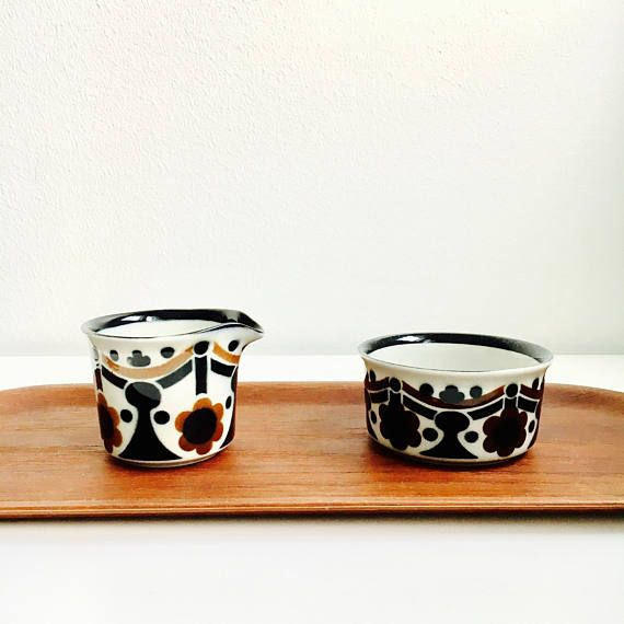 """Vintage Arabia Finland ceramic creamer and sugar bowl named """"Riikka"""" designed by Anja Jaatinen-Winquist,1970s, Made in Finland"""