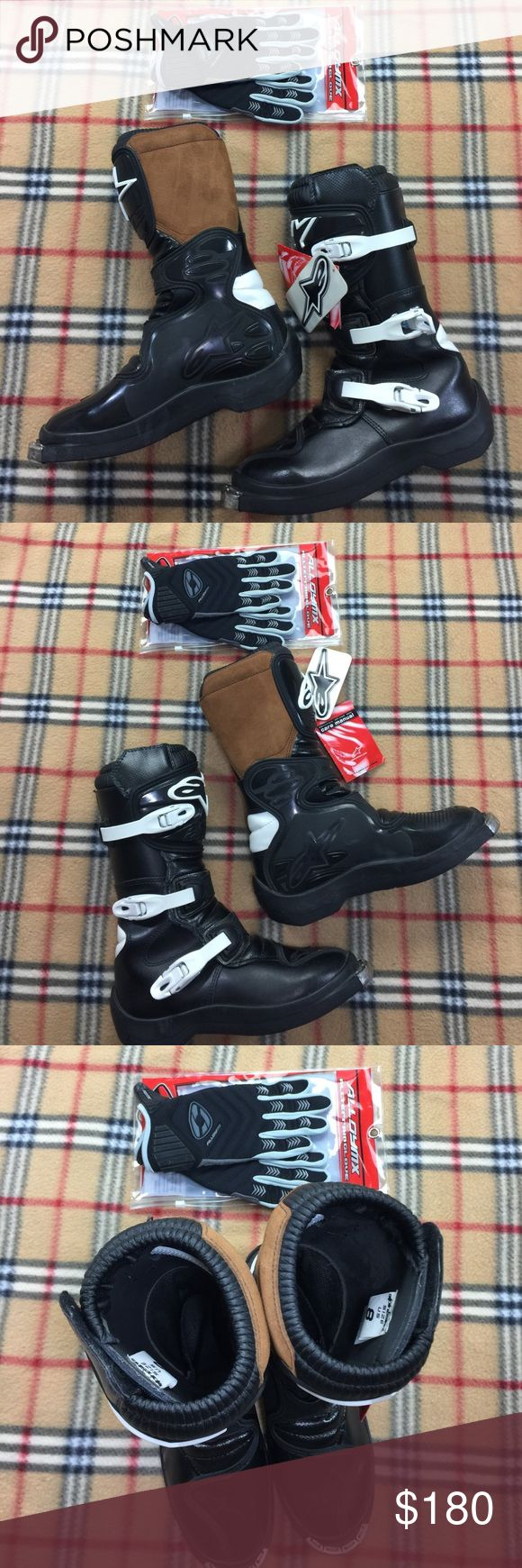 Alpinestars Italy Motocross Boots Brand new mint state unworn with tags women's motocross boots. Care instruction booklet included. Black with white buckles and chocolate brown leather on innner calf. These boots are professional grade and are designed and engineered to provide the best riding experience possible. The gloves are Alloy MX All Terrain Gloves Size S/8. If you look closely in the pics where the marker line is the price, $34.99 value. They and brand New With Tags also. They are a…