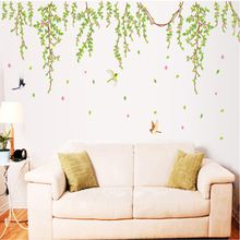 BIG Green Leaves Pink Flowers Birds Decal Vinyl Wall Stickers PVC Decor Removable DIY Home Art Wallpaper Room House Sticker(China (Mainland))