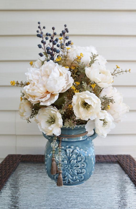 Fall Flower Arrangement, Home Decor, Center Piece, White Flowers, Blue Berries, Blue Ceramic Vase, Silk Arrangement