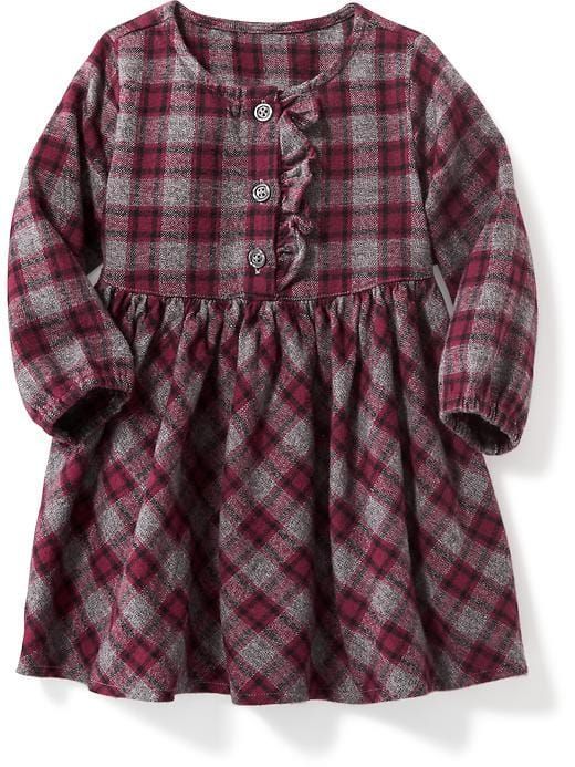 plaid ruffled-placket twill dress for baby at Old Navy