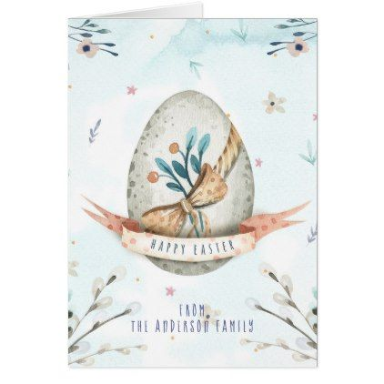 Modern Floral Happy Easter Wishes Boho Greetings Card - holiday card diy personalize design template cyo cards idea