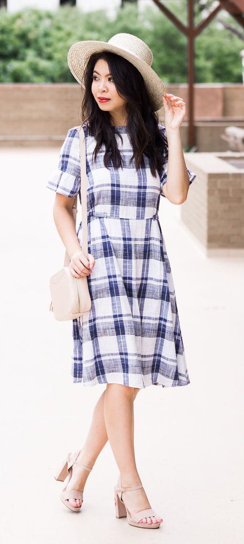Marks & Spencer dresses, plaid dress, summer outfit, petite fashion blog #ad #marksandspencerstyle #shoppinglinks