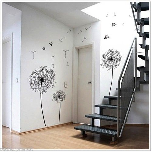 Dandelion flowers wall stickers stair way wall