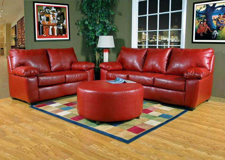 Bright Red Sofa With Green Walls 800x Leather Living Room
