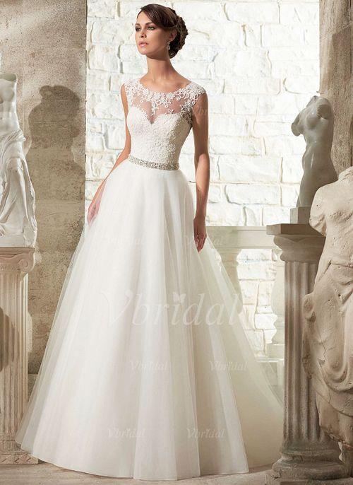 Brautkleider - $170.56 - Duchesse-Linie U-Ausschnitt Hof-schleppe Organza Tüll Brautkleid mit Perlenstickerei Applikationen Spitze (0025060030)