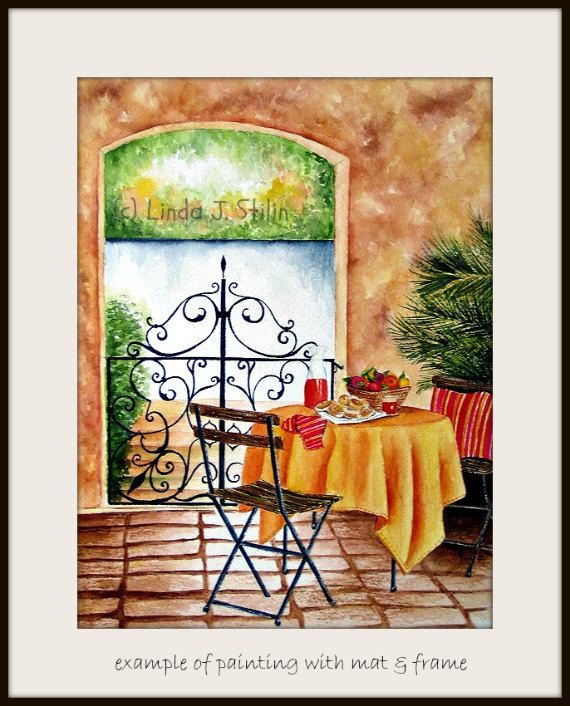 Watercolor Painting 11x14 Mediterranean Cafe by StilinStudio, $85.00