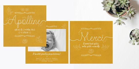 Faire-part de naissance Moutarde et Kraft : Faire-part par la-papeterie-de-paris