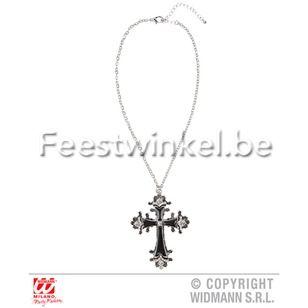 Thema's: Halsketting zwart kruis met strass