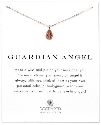 Dogeared 14K Rose Gold Plated Sterling Silver Guardian Angel Engraved Pendant Necklace