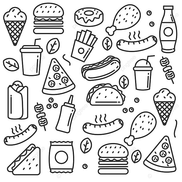 Mao Desenhada Fast Food Doodle Vector Conjunto De Ilustracao Vetorial De Fast Food Com Design De Linha Clipart De Alimentos Rabisco Comida Rapida Imagem Png Food Doodles How To Draw